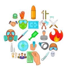 misdeed icons set cartoon style vector image