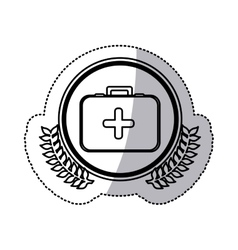 Monochrome sticker with circle with firts aid kit vector