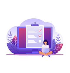 Month planning to do list time management woman vector
