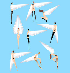 Naked sexy angels isolated on a blue background vector