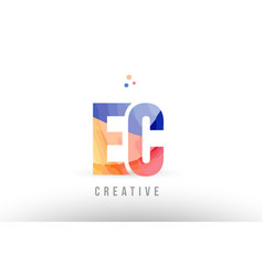 Orange blue alphabet letter ec e c logo icon vector