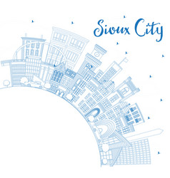 Outline sioux city iowa skyline with blue vector