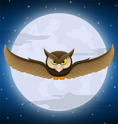 Owl flying with full moon and star background vector