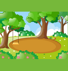 Park scene with swing on the tree vector
