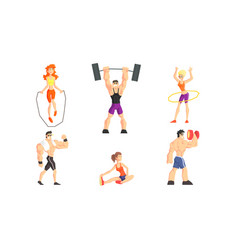 people performing various sports activities set vector image