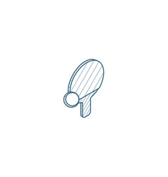 ping pong racket and ball isometric icon 3d line vector image