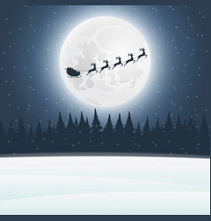 reindeer in harness with sleigh santa claus vector image