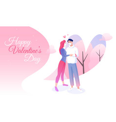 saint valentines day banner with lovers in masks vector image