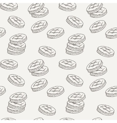 Seamless pattern of double cookies with a layer of vector image