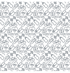 seamless pattern with icons fitness items vector image