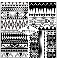 set black and white geometric seamless patterns vector image