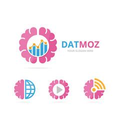 set of brain logo combination education vector image