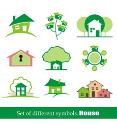 set of symbols home house vector image