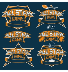 set of vintage sports all star crests with vector image