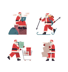 set santa claus delivering gifts merry christmas vector image