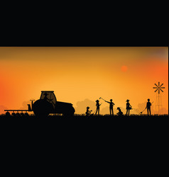 silhouette farmer driving a tractor vector image