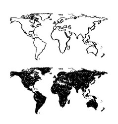 Sketch of hand drawn world map vector