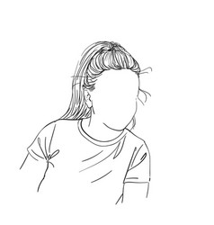Sketch womans head with no face hand drawn vector