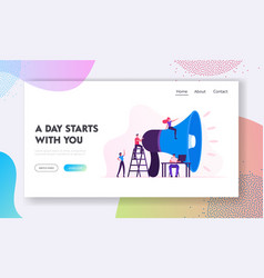 Social marketing website landing page characters vector