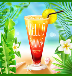 summer design with cocktail vector image
