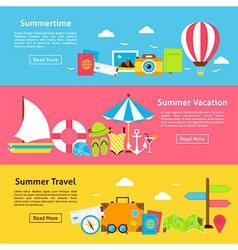 Summer Travel Holiday Flat Horizontal Banners vector image