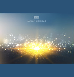 sun shiny sunlight with gold and silver bokeh vector image