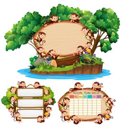 Three board template with happy monkeys in vector