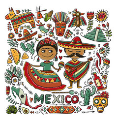 Travel to mexico sketch for your design vector