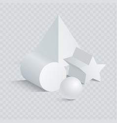 triangular and pentagrammic prism with sphere 3d vector image
