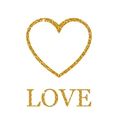 Valentines day golden glitter design element vector image
