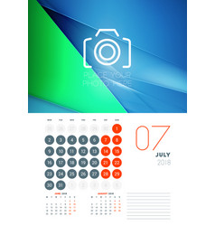 wall calendar template for july 2018 design print vector image