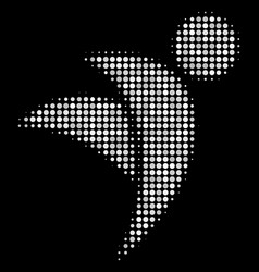Winged man halftone icon vector