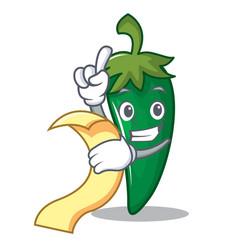 with menu green chili character cartoon vector image