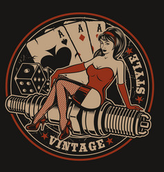 With pin-up girl on a spark plug vector