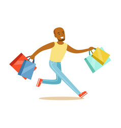 young black man running with shopping bags vector image