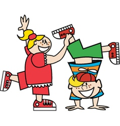 Boy and girl playing vector image vector image