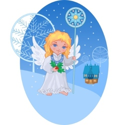 christmas cute angel with star staff vector image
