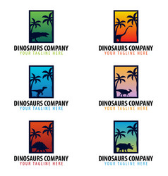Dinosaurs company logo or emblem vector