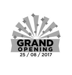 gray grand opening emblem vector image vector image