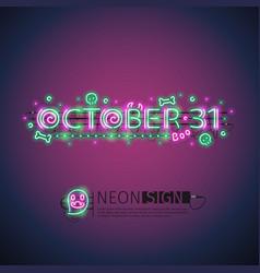 october halloween neon sign vector image vector image