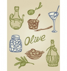 retro olive icons vector image vector image
