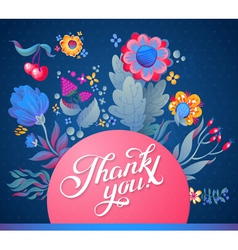 Thank you card in bright colors vector image