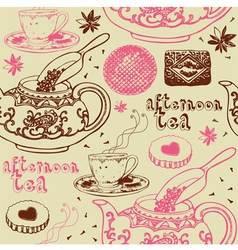 Vintage Afternoon Tea Background vector image vector image