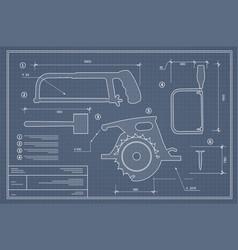 blueprint building tool set drawing plan layout vector image