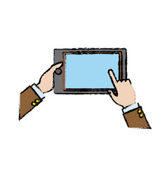 hands holding tablet technology device vector image