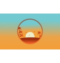 Beautiful landscape bird and palm silhouettes vector