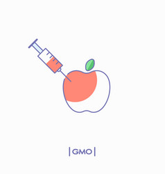gmo concept apple with syringe vector image vector image