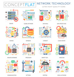 infographics mini concept network technology icons vector image vector image