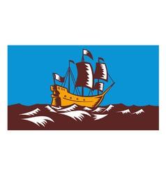 Tall Sailing Ship Retro Woodcut vector image vector image