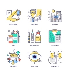 Thin line icons set of diabetes life Flat vector image